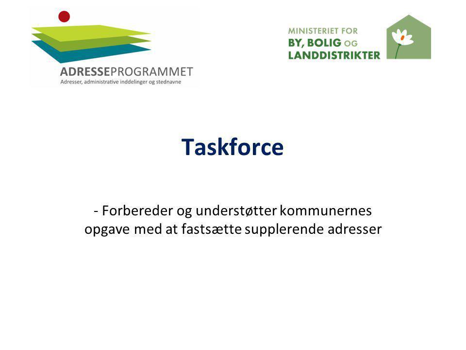 Taskforce - Forbereder og understøtter kommunernes opgave med at fastsætte supplerende adresser