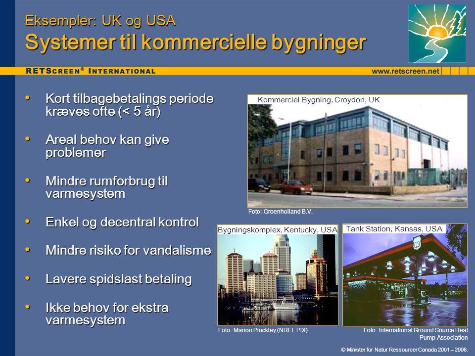 Eksempler: UK og USA Systemer til kommercielle bygninger