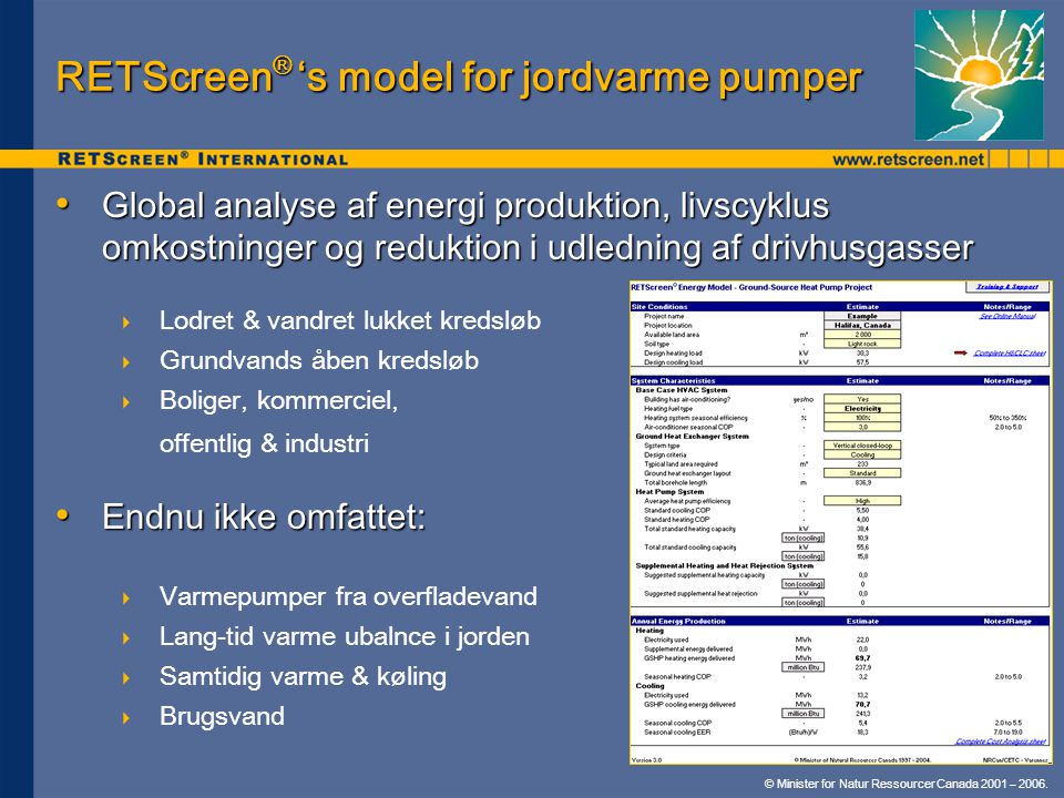 RETScreen® 's model for jordvarme pumper