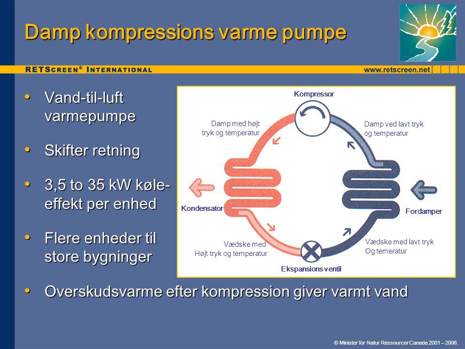 Damp kompressions varme pumpe