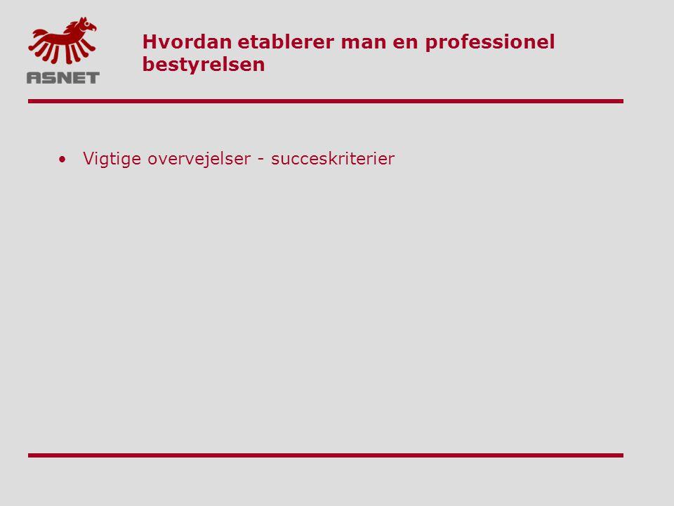 Hvordan etablerer man en professionel bestyrelsen