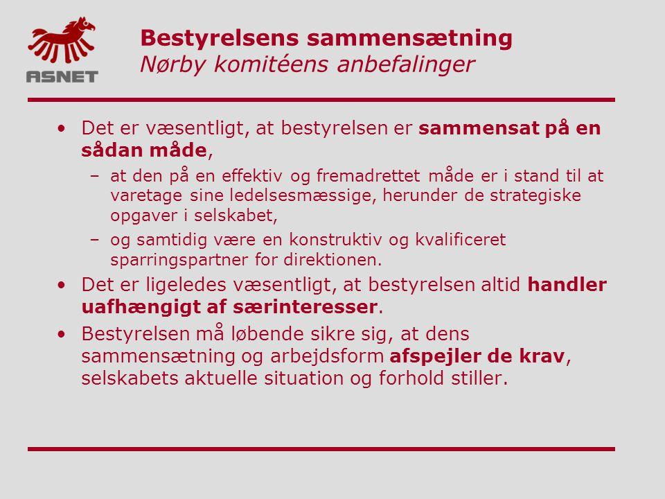 Bestyrelsens sammensætning Nørby komitéens anbefalinger
