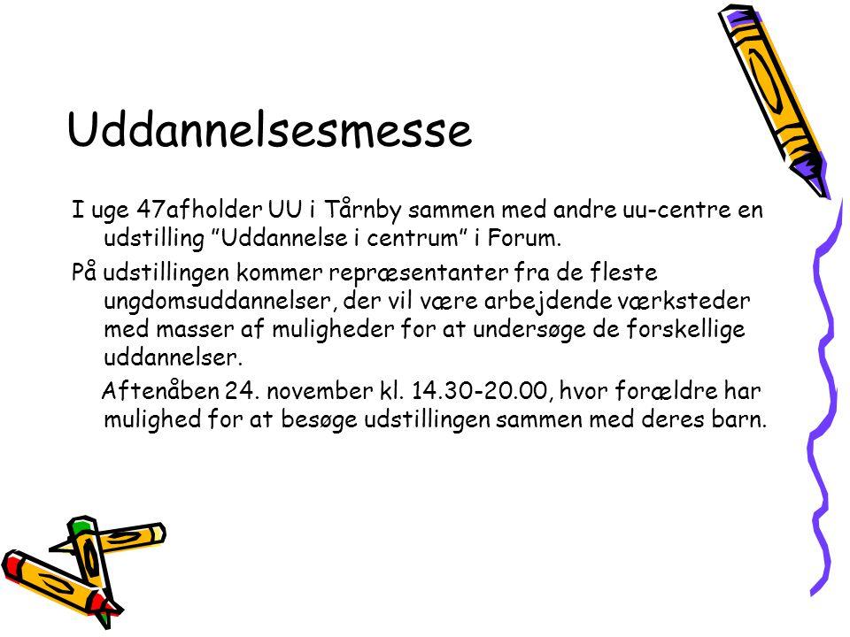 Uddannelsesmesse I uge 47afholder UU i Tårnby sammen med andre uu-centre en udstilling Uddannelse i centrum i Forum.