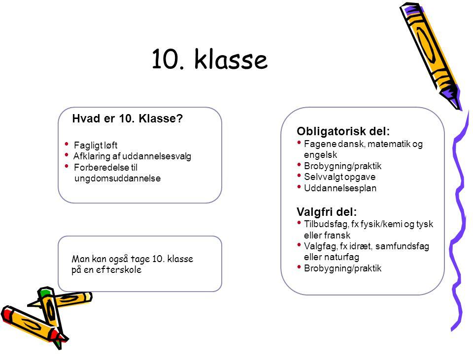 10. klasse Hvad er 10. Klasse Obligatorisk del: Valgfri del: