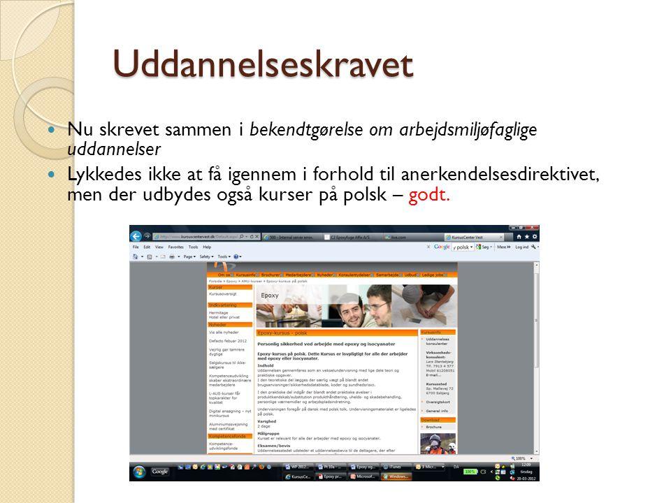 Uddannelseskravet Nu skrevet sammen i bekendtgørelse om arbejdsmiljøfaglige uddannelser.
