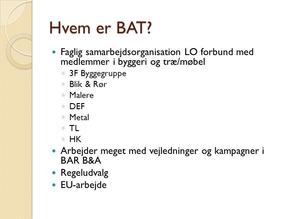 Hvem er BAT Faglig samarbejdsorganisation LO forbund med medlemmer i byggeri og træ/møbel. 3F Byggegruppe.