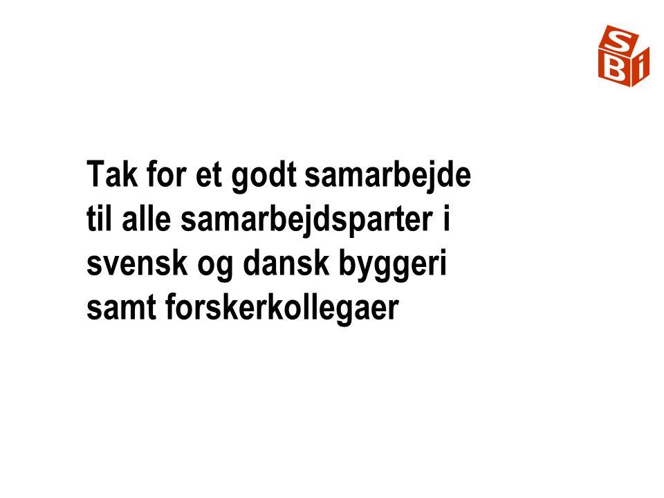 Tak for et godt samarbejde til alle samarbejdsparter i svensk og dansk byggeri samt forskerkollegaer