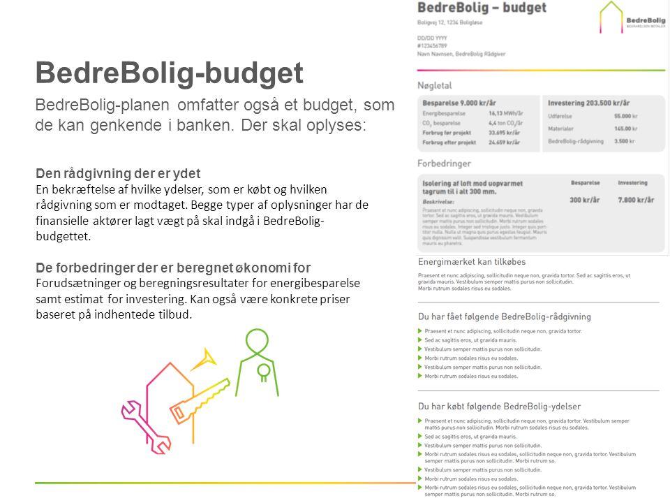 BedreBolig-budget BedreBolig-planen omfatter også et budget, som de kan genkende i banken. Der skal oplyses: