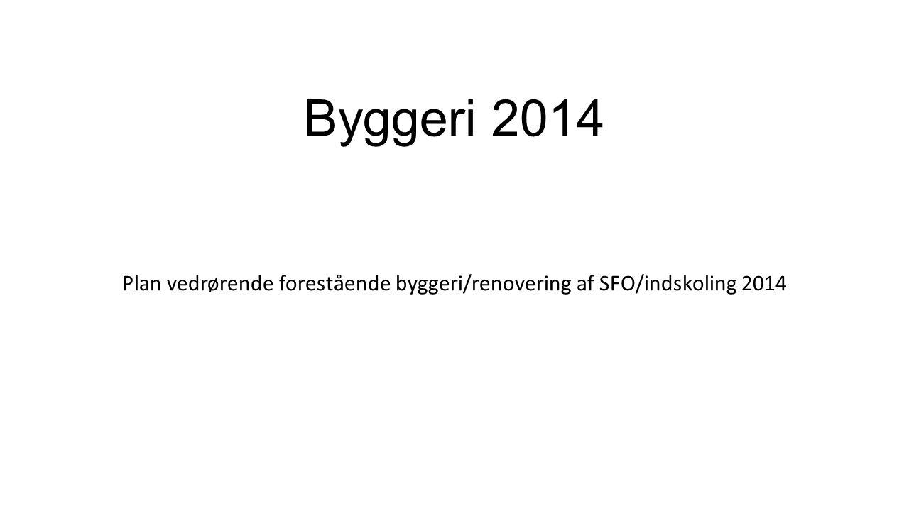 Plan vedrørende forestående byggeri/renovering af SFO/indskoling 2014