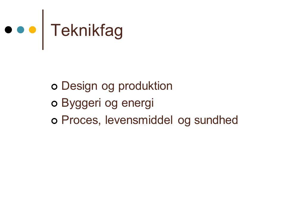 Teknikfag Design og produktion Byggeri og energi