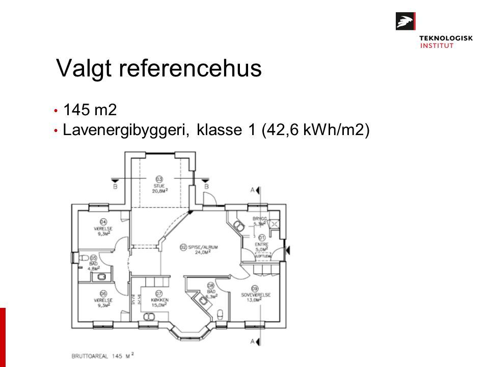 Valgt referencehus 145 m2 Lavenergibyggeri, klasse 1 (42,6 kWh/m2)