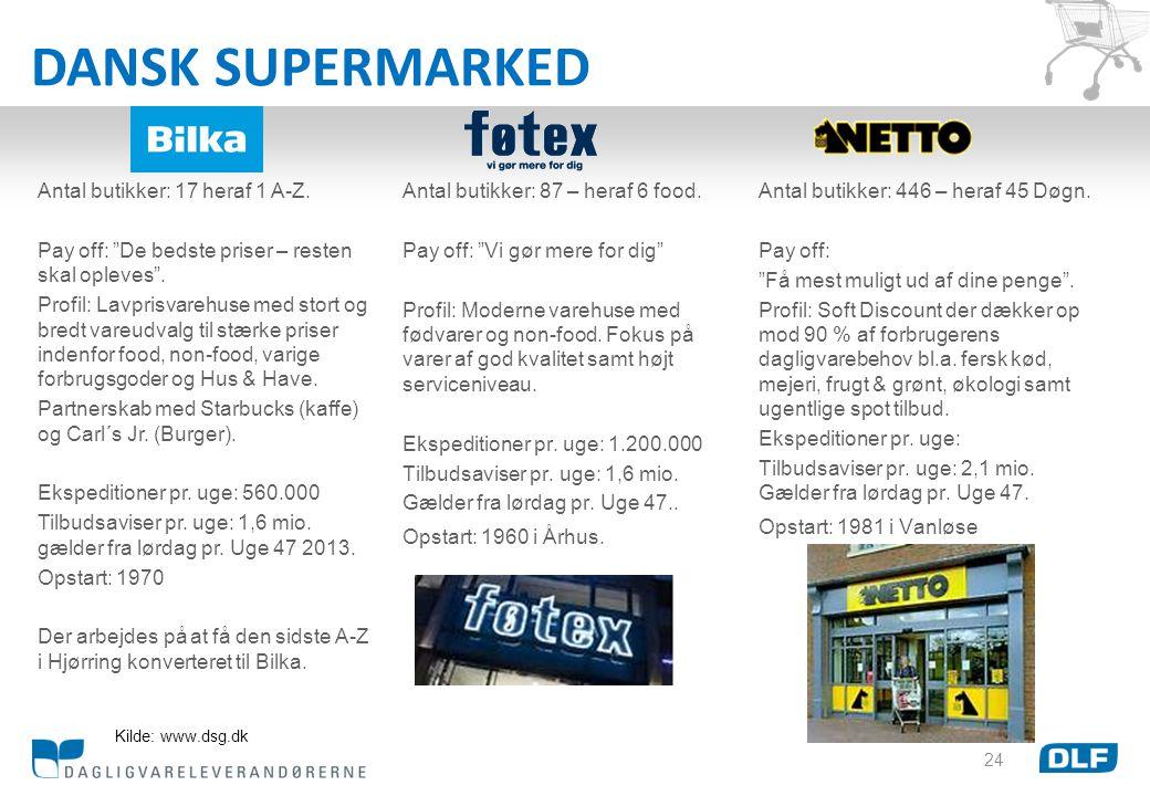 DANSK SUPERMARKED Antal butikker: 17 heraf 1 A-Z.