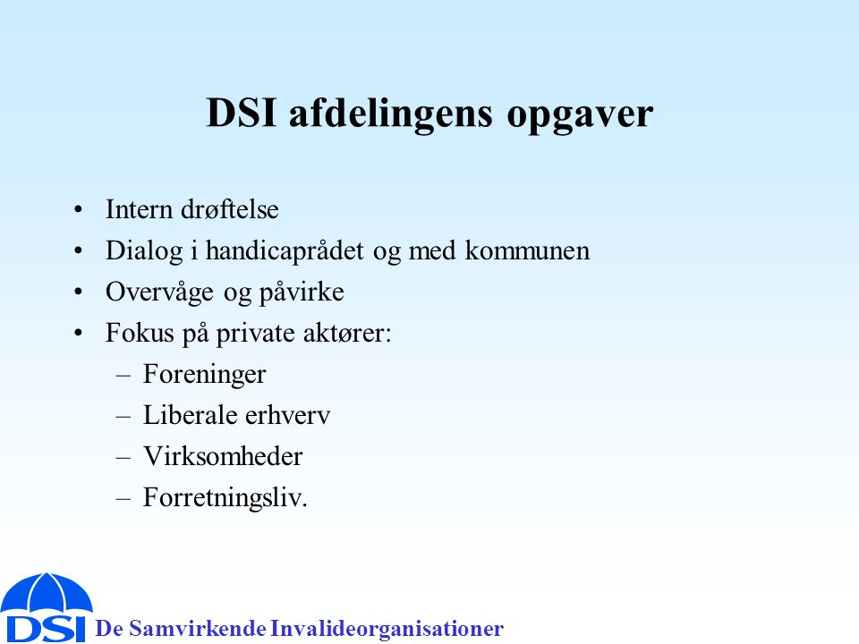 DSI afdelingens opgaver