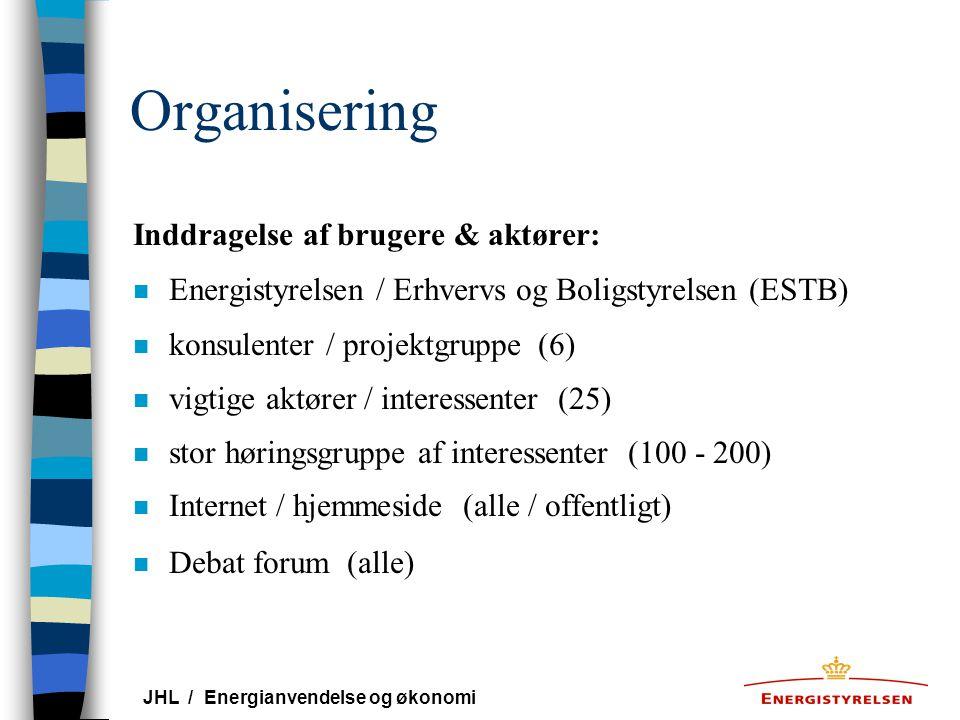 Organisering Inddragelse af brugere & aktører: