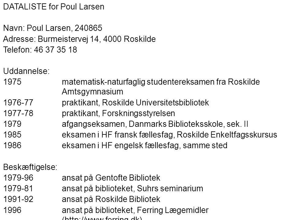 DATALISTE for Poul Larsen