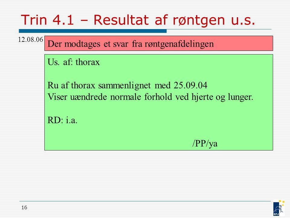 Trin 4.1 – Resultat af røntgen u.s.
