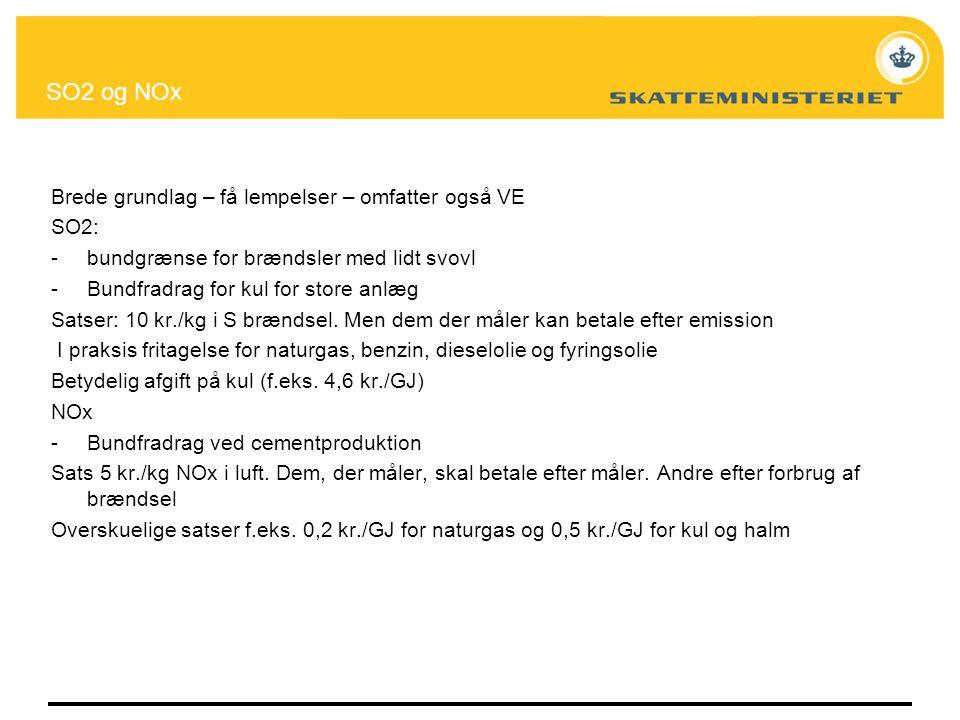 SO2 og NOx Brede grundlag – få lempelser – omfatter også VE SO2: