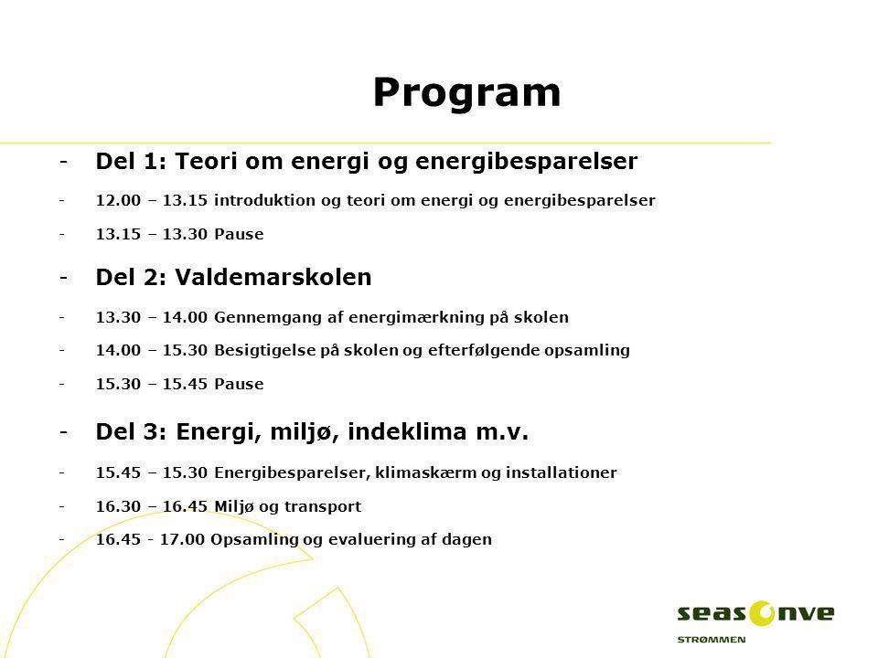Program Del 1: Teori om energi og energibesparelser