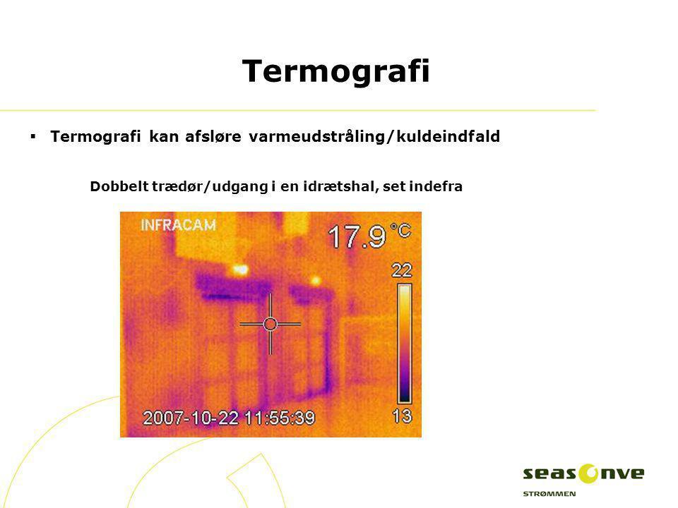 Termografi Termografi kan afsløre varmeudstråling/kuldeindfald