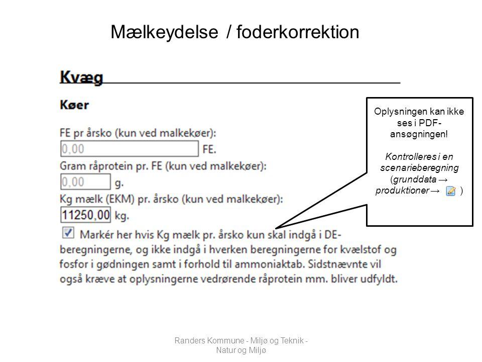 Mælkeydelse / foderkorrektion