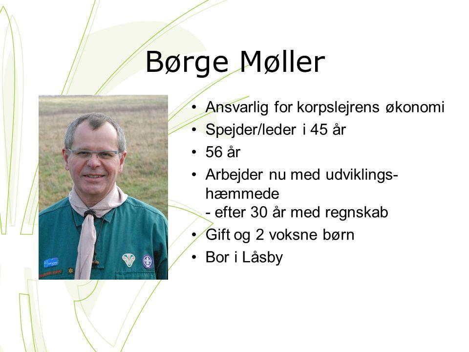 Børge Møller Ansvarlig for korpslejrens økonomi Spejder/leder i 45 år