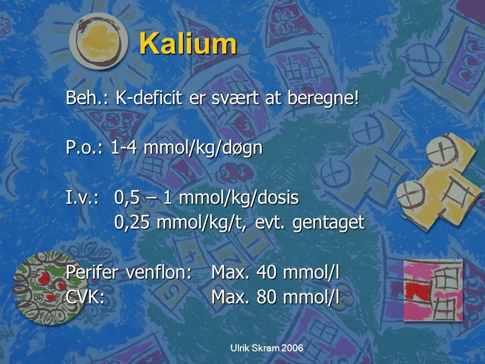 Kalium Beh.: K-deficit er svært at beregne! P.o.: 1-4 mmol/kg/døgn