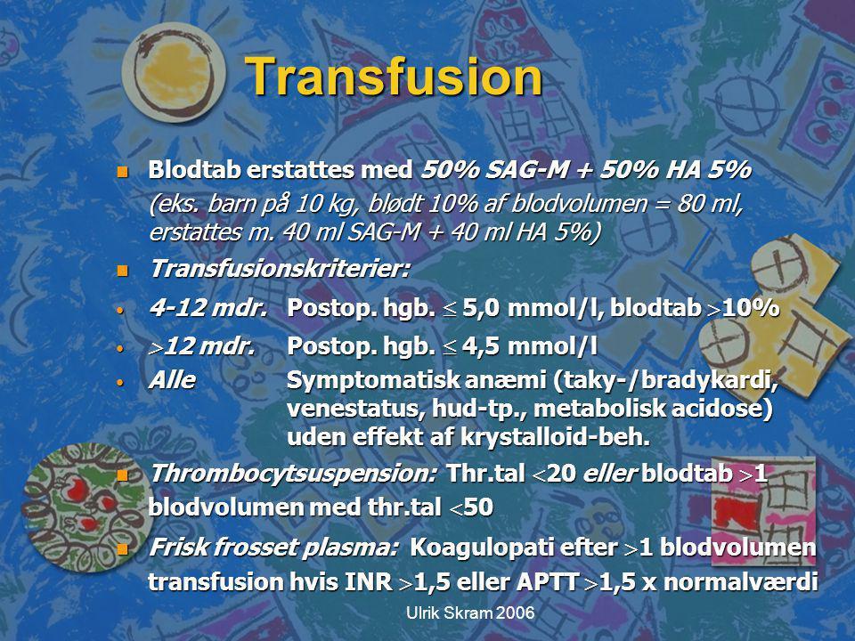 Transfusion Blodtab erstattes med 50% SAG-M + 50% HA 5%