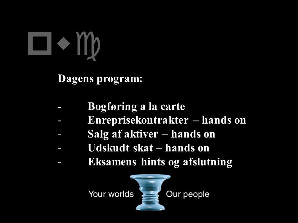 pwc Dagens program: Bogføring a la carte