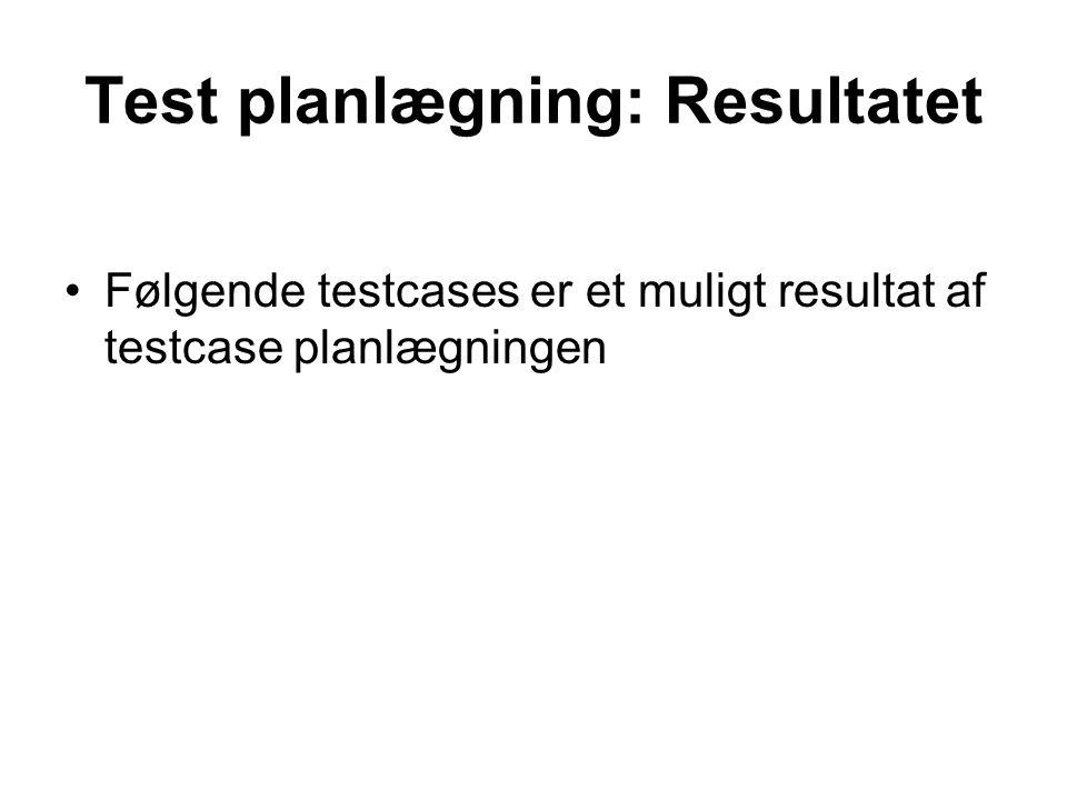 Test planlægning: Resultatet
