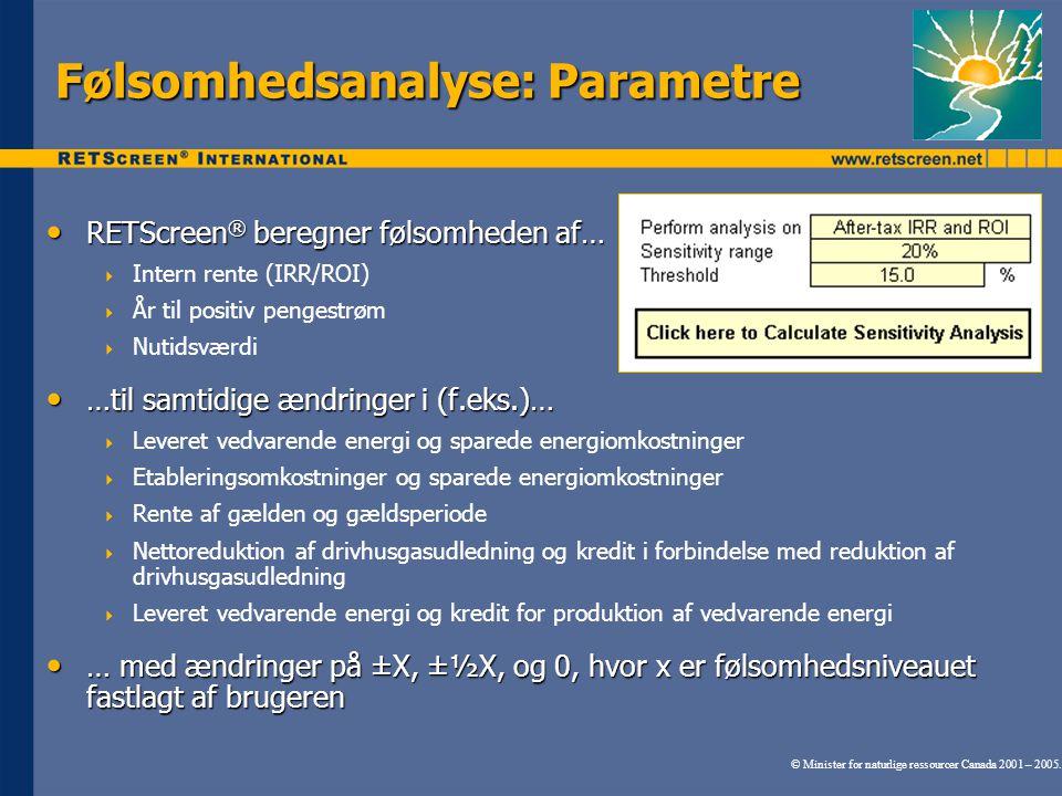 Følsomhedsanalyse: Parametre