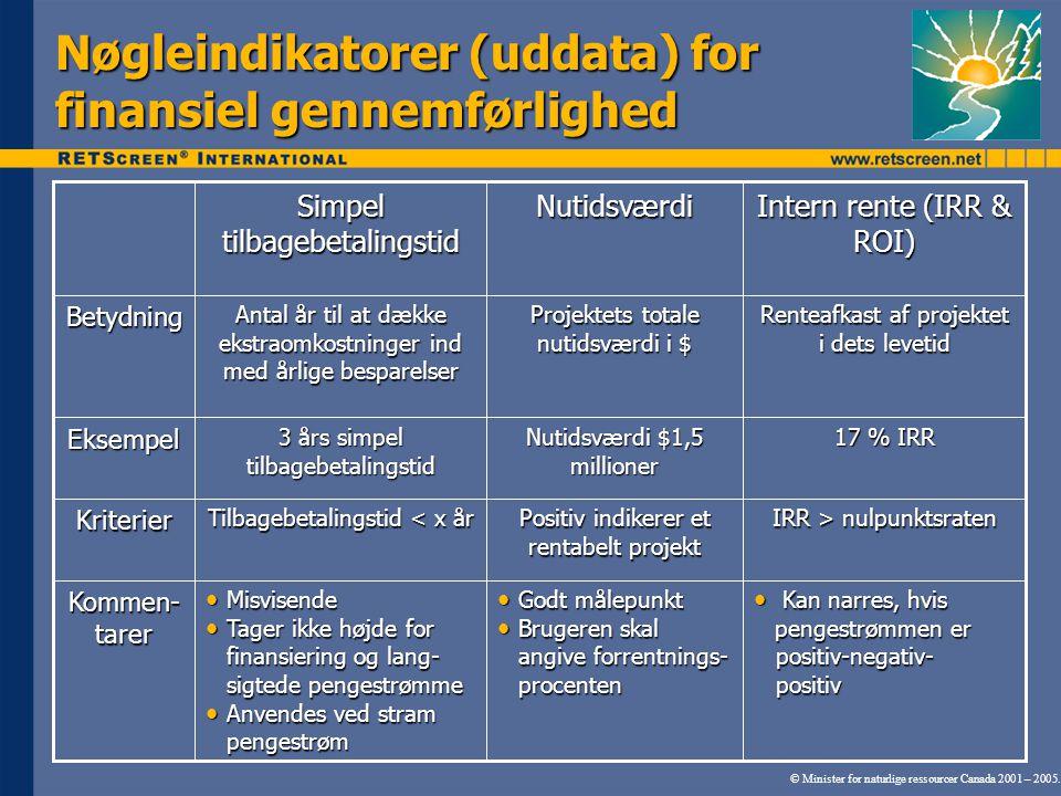 Nøgleindikatorer (uddata) for finansiel gennemførlighed