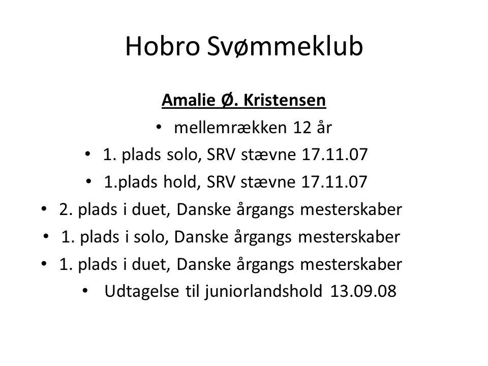Hobro Svømmeklub Amalie Ø. Kristensen mellemrækken 12 år