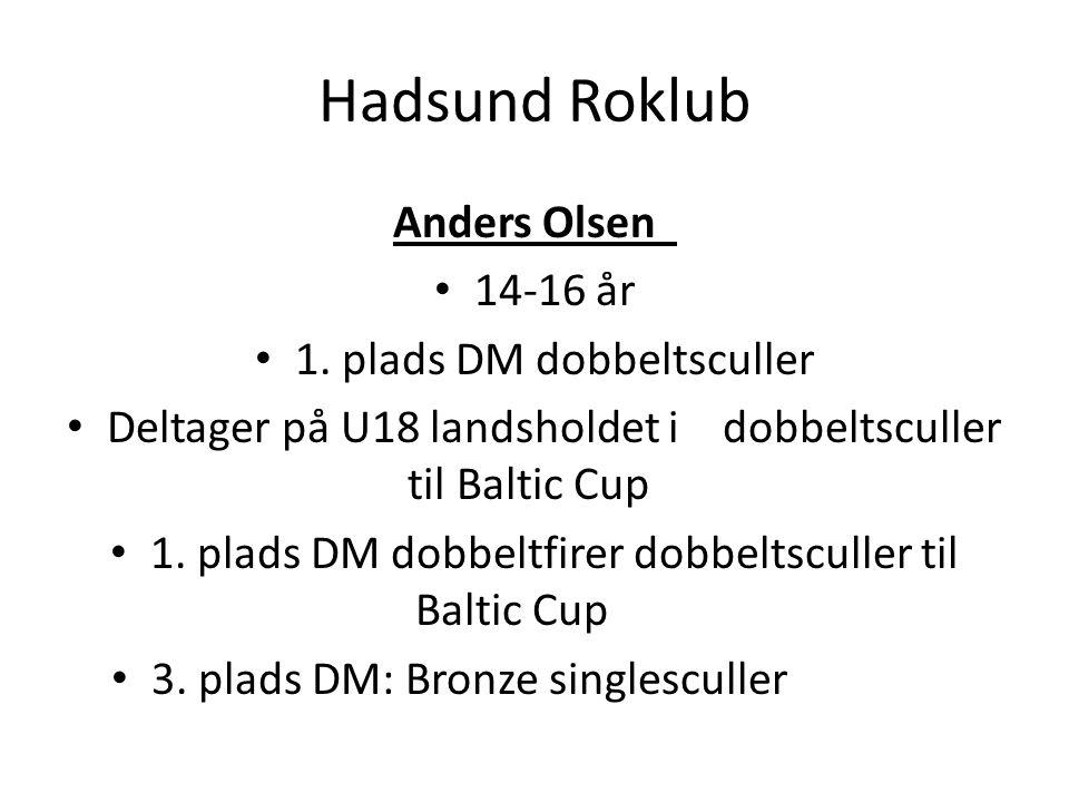 Hadsund Roklub Anders Olsen 14-16 år 1. plads DM dobbeltsculler