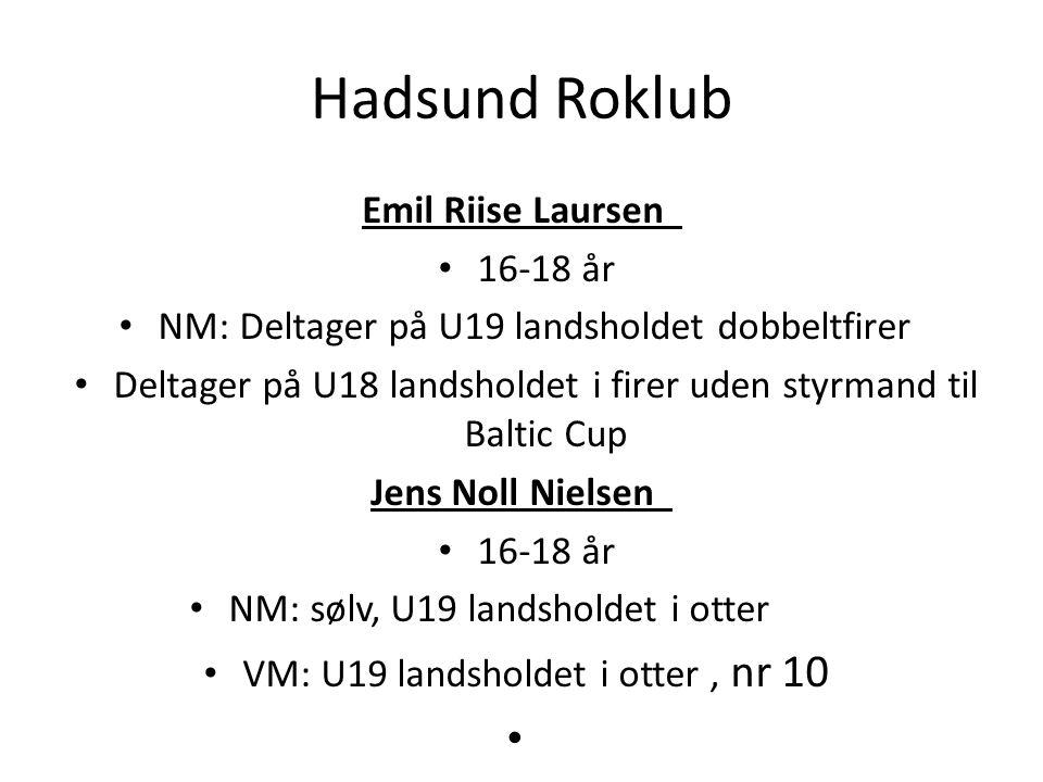 Hadsund Roklub Emil Riise Laursen 16-18 år