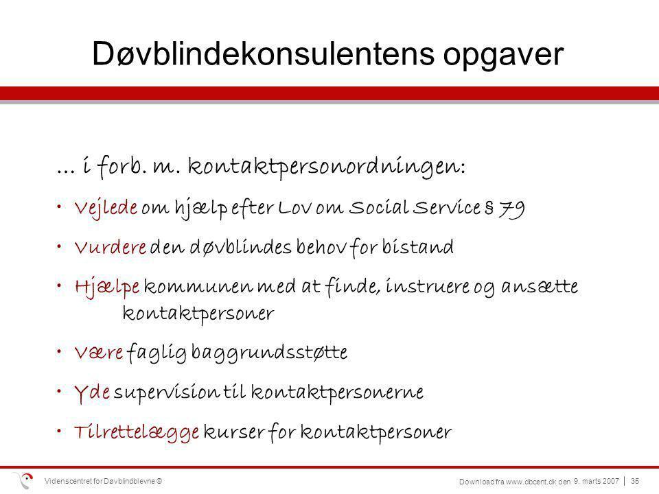 Døvblindekonsulentens opgaver