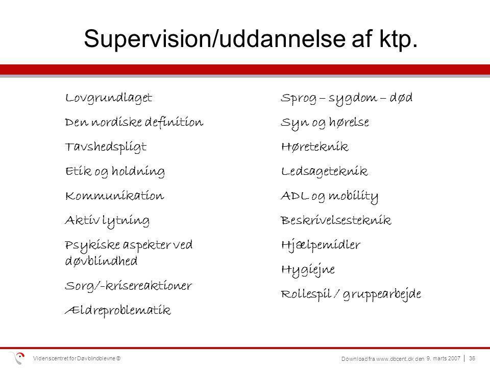 Supervision/uddannelse af ktp.