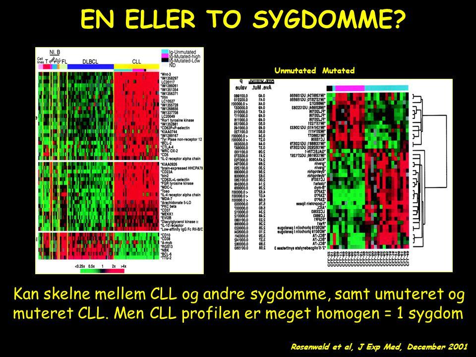 EN ELLER TO SYGDOMME Unmutated. Mutated. Kan skelne mellem CLL og andre sygdomme, samt umuteret og.
