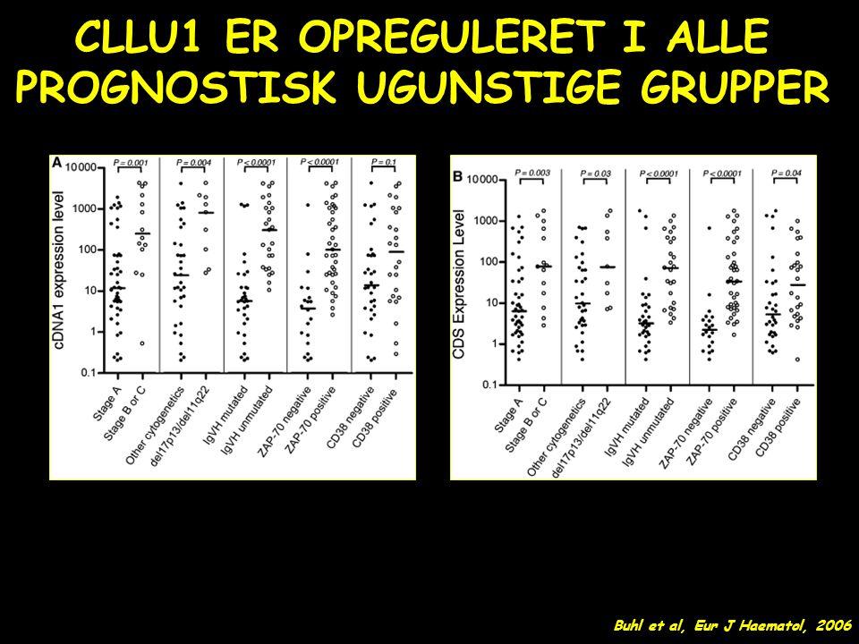 CLLU1 ER OPREGULERET I ALLE PROGNOSTISK UGUNSTIGE GRUPPER