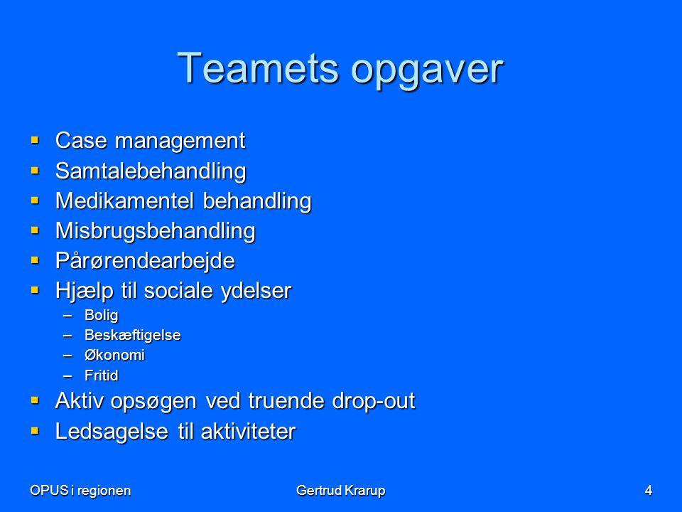Teamets opgaver Case management Samtalebehandling