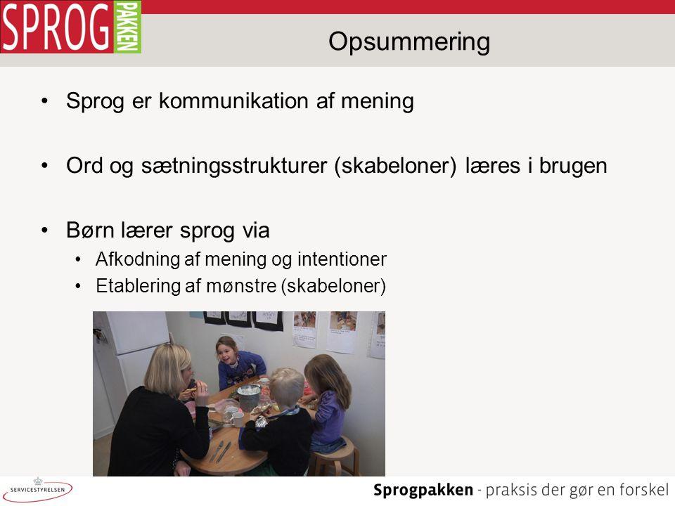 Opsummering Sprog er kommunikation af mening