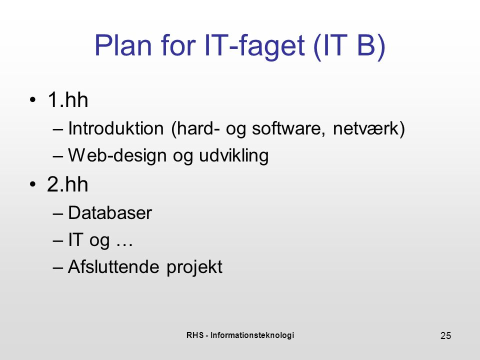 Plan for IT-faget (IT B)