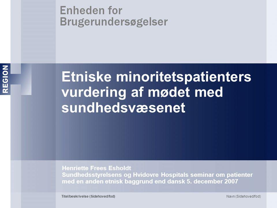 Etniske minoritetspatienters vurdering af mødet med sundhedsvæsenet