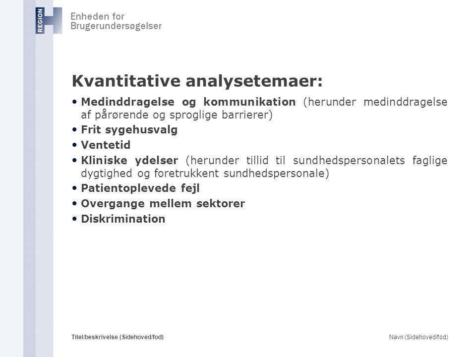 Kvantitative analysetemaer: