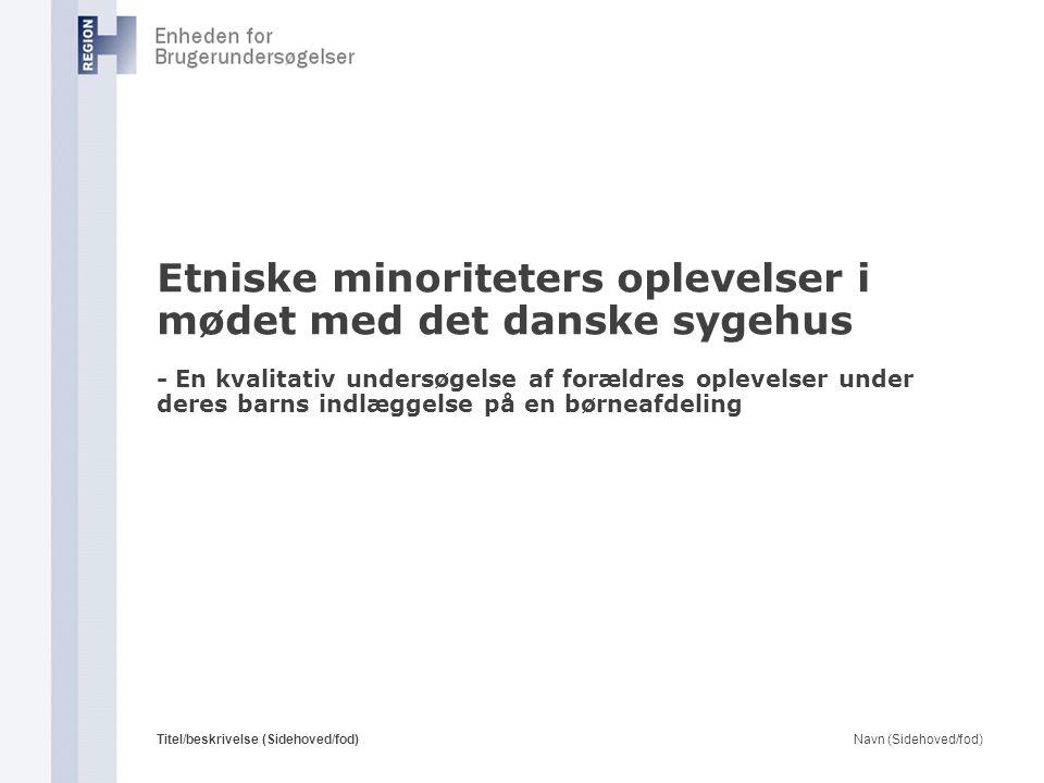 Etniske minoriteters oplevelser i mødet med det danske sygehus - En kvalitativ undersøgelse af forældres oplevelser under deres barns indlæggelse på en børneafdeling