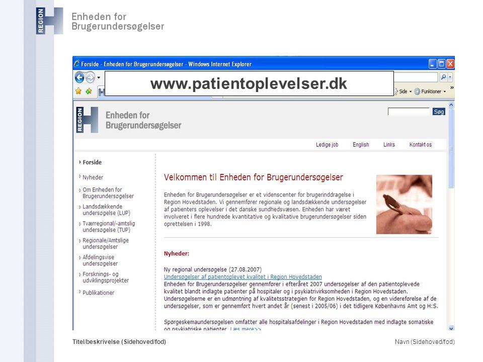 www.patientoplevelser.dk Titel/beskrivelse (Sidehoved/fod)