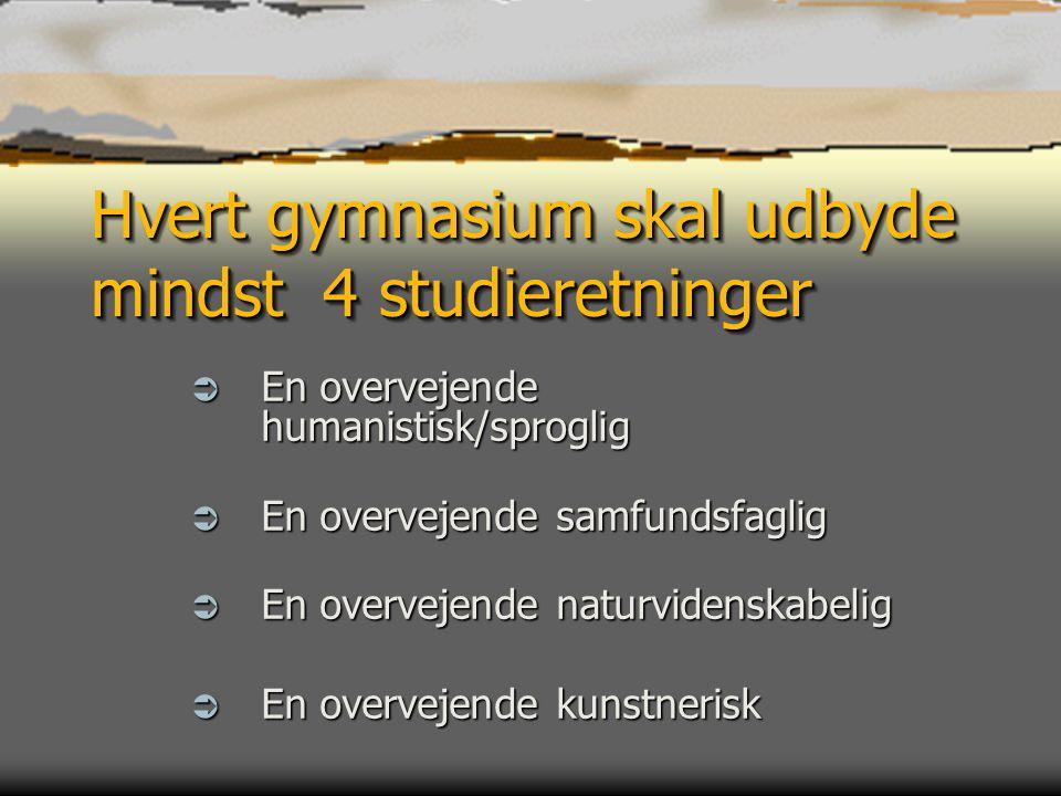 Hvert gymnasium skal udbyde mindst 4 studieretninger