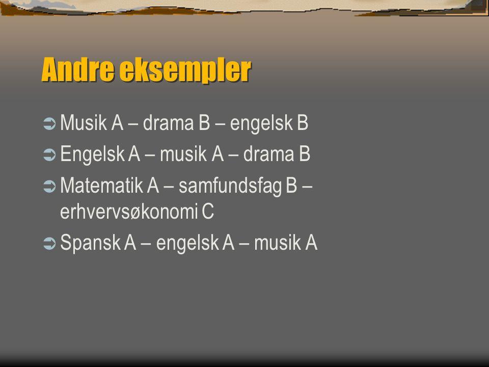 Andre eksempler Musik A – drama B – engelsk B