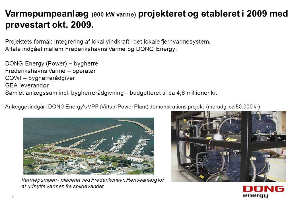 Varmepumpeanlæg (900 kW varme) projekteret og etableret i 2009 med prøvestart okt. 2009.