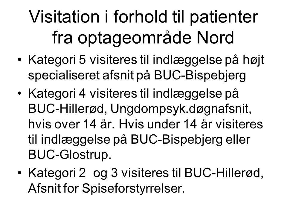 Visitation i forhold til patienter fra optageområde Nord