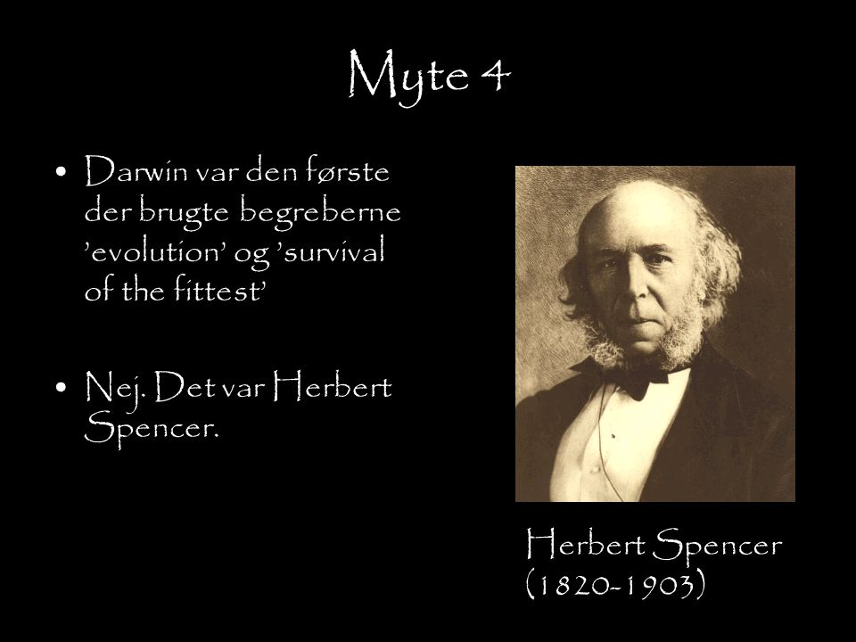 Myte 4 Darwin var den første der brugte begreberne 'evolution' og 'survival of the fittest' Nej. Det var Herbert Spencer.